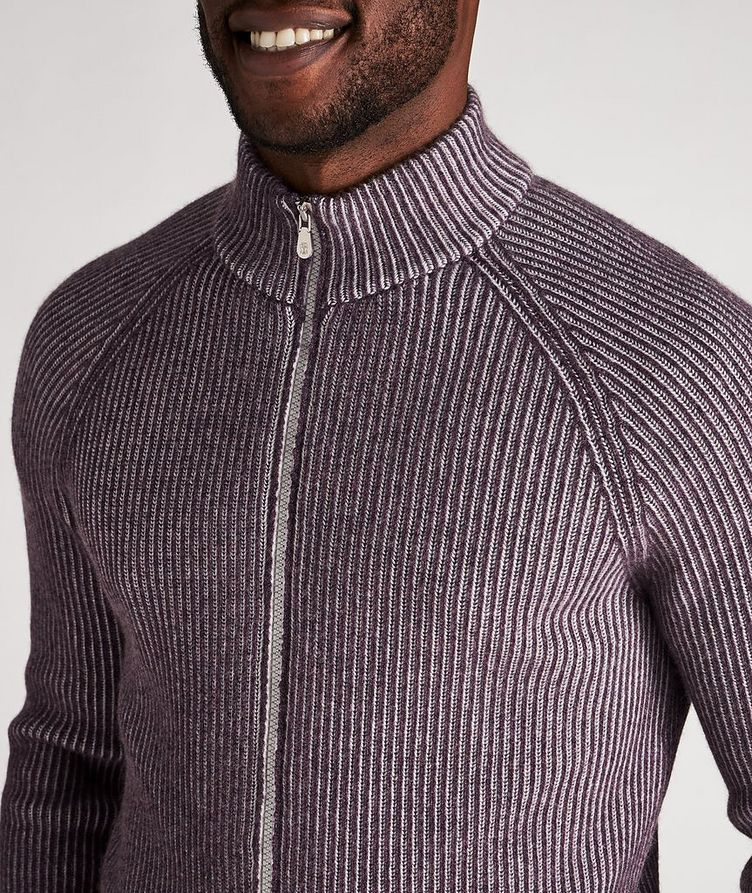Zip-Up Striped Cashmere Sweater image 3