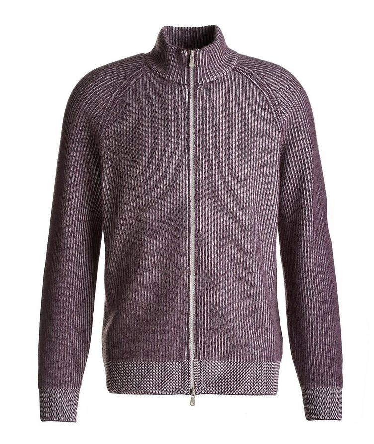 Zip-Up Striped Cashmere Sweater image 0