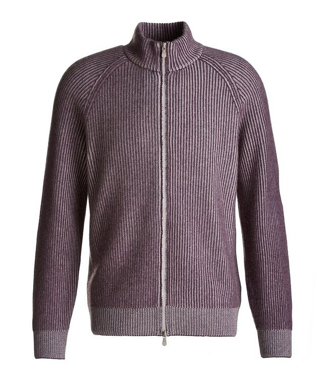 Zip-Up Striped Cashmere Sweater picture 1