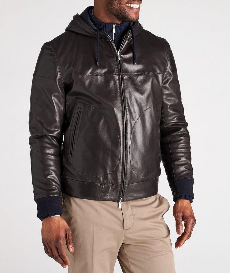Reversible Hooded Leather Jacket image 1