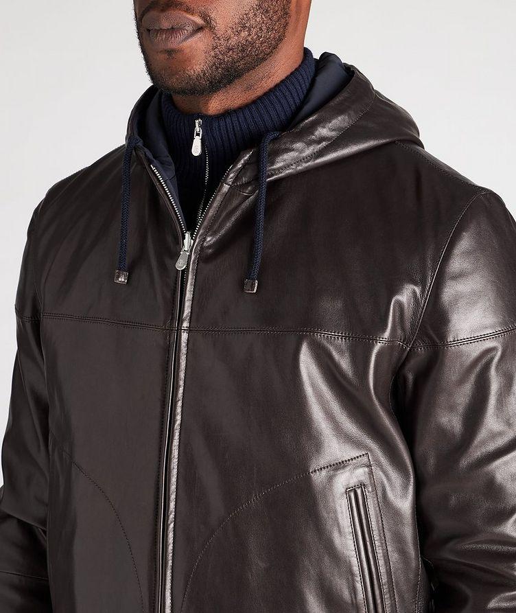 Reversible Hooded Leather Jacket image 3