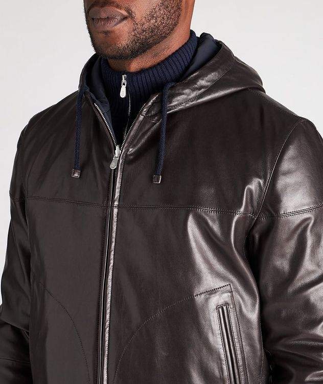Reversible Hooded Leather Jacket picture 4