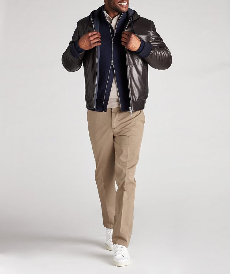 Reversible Hooded Leather Jacket image 7
