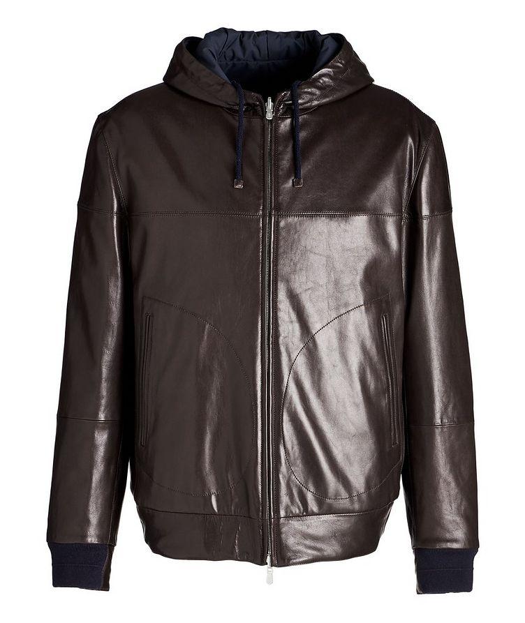 Reversible Hooded Leather Jacket image 0