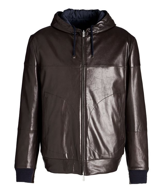 Reversible Hooded Leather Jacket picture 1