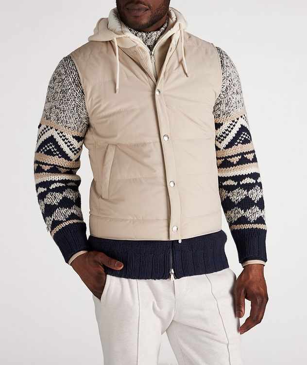 Water-Repellent Hooded Down Vest picture 2