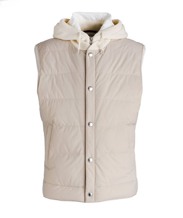 Water-Repellent Hooded Down Vest picture 1