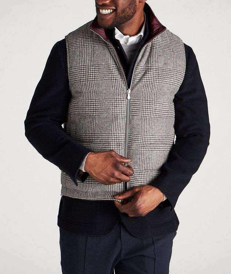 Reversible Houndstooth Wool-Cashmere Down Vest image 1