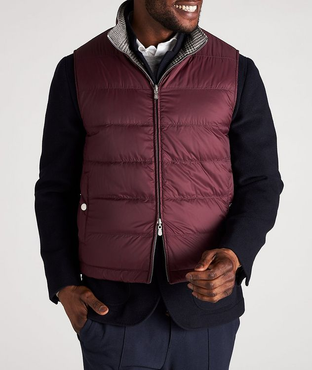 Reversible Houndstooth Wool-Cashmere Down Vest picture 5