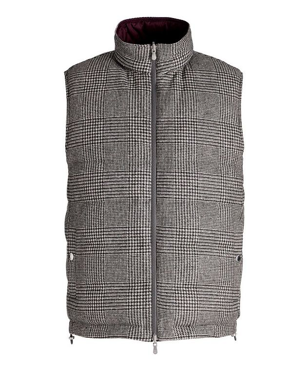 Reversible Houndstooth Wool-Cashmere Down Vest picture 1
