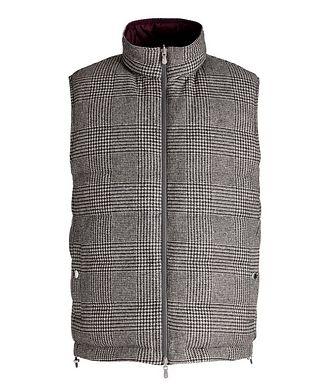 Brunello Cucinelli Reversible Houndstooth Wool-Cashmere Down Vest