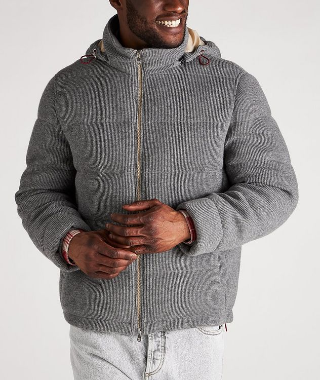 Hooded Cashmere Ribbed Knitted Down Jacket picture 2