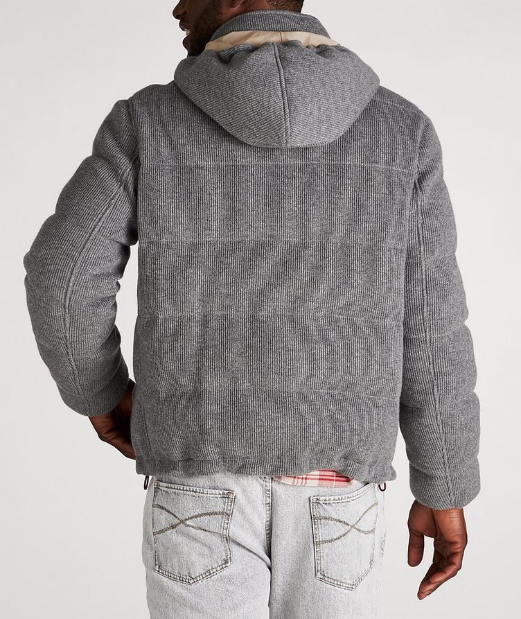 Hooded Cashmere Ribbed Knitted Down Jacket image 2