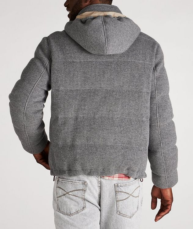 Hooded Cashmere Ribbed Knitted Down Jacket picture 3