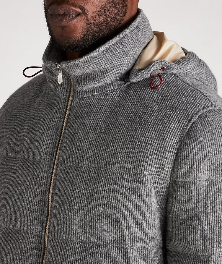 Hooded Cashmere Ribbed Knitted Down Jacket image 3