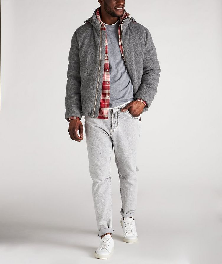 Hooded Cashmere Ribbed Knitted Down Jacket image 4