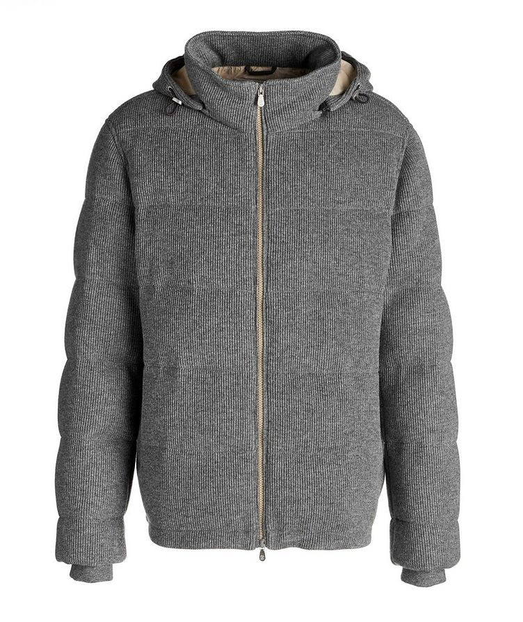 Hooded Cashmere Ribbed Knitted Down Jacket image 0