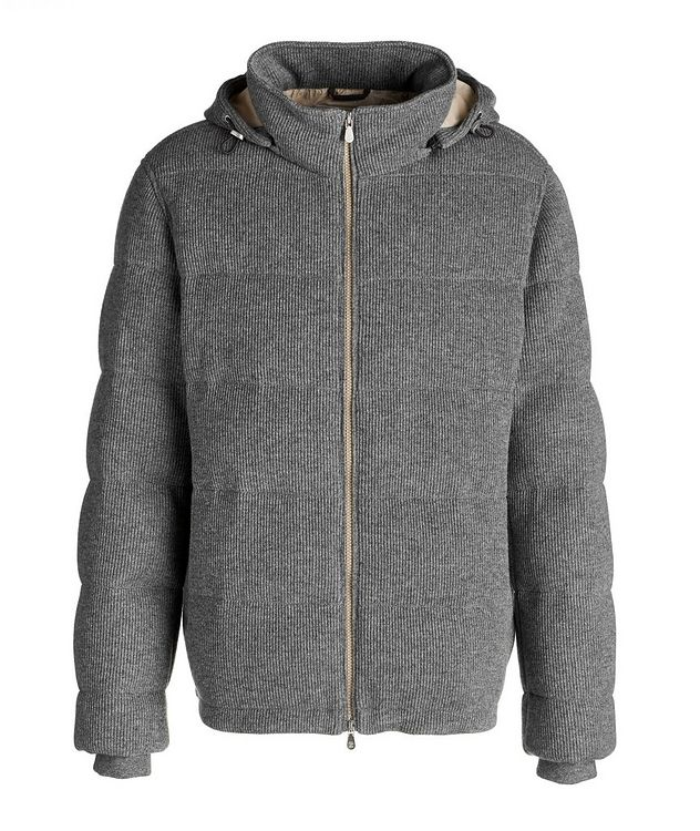 Hooded Cashmere Ribbed Knitted Down Jacket picture 1