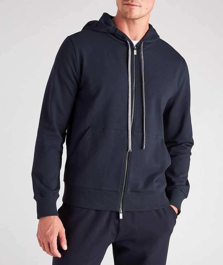 Zip-Up Stretch-Cotton Hoodie image 1