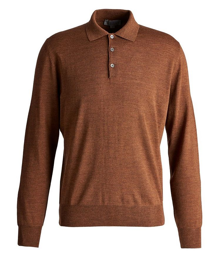 Long-Sleeve Wool Polo image 0