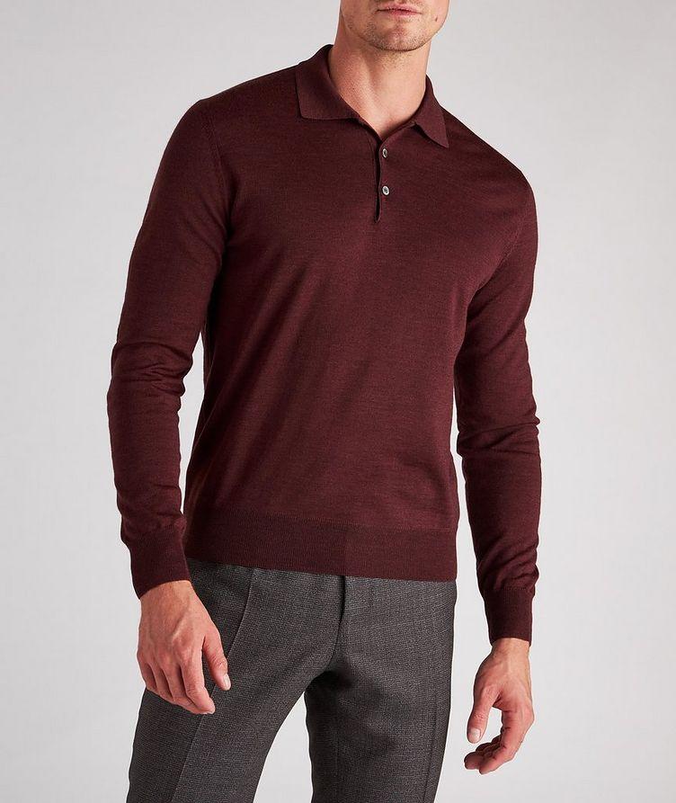 Long-Sleeve Wool Knit Polo image 1