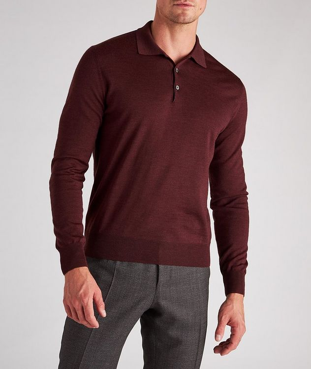 Long-Sleeve Wool Knit Polo picture 2