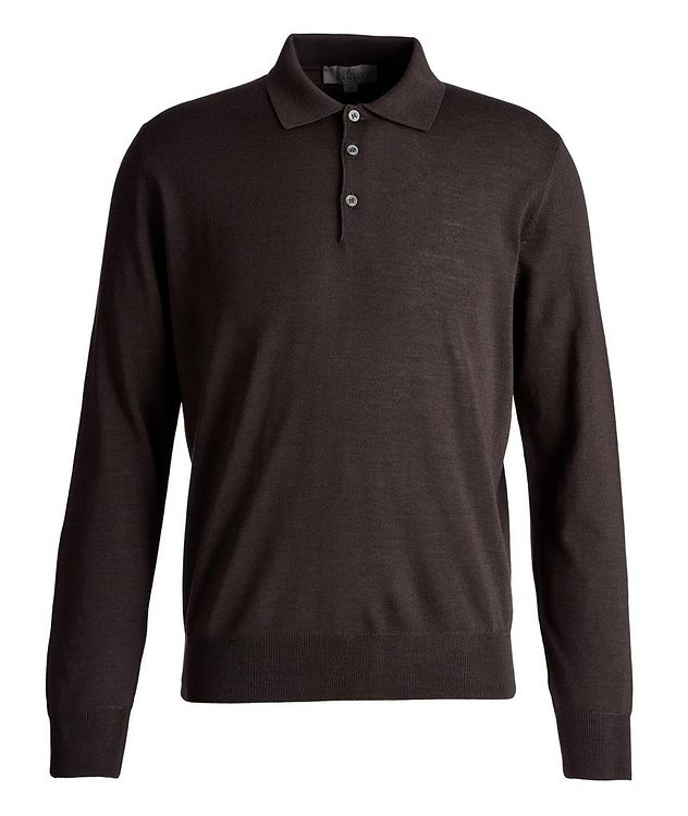 Long-Sleeve Wool Knit Polo picture 1