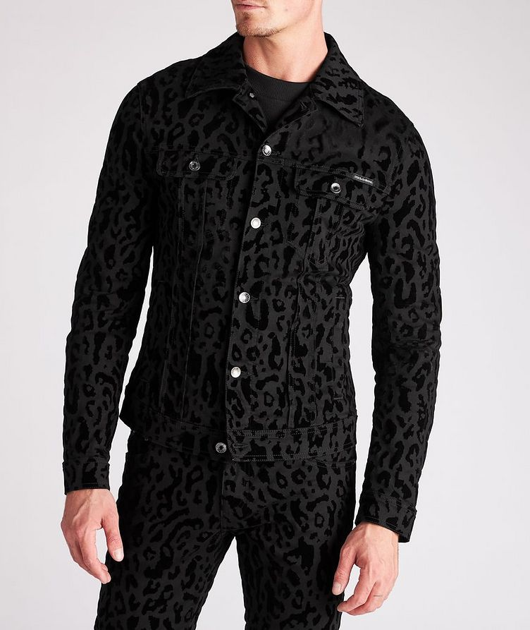 Leopard Print Stretch Denim Jacket image 1