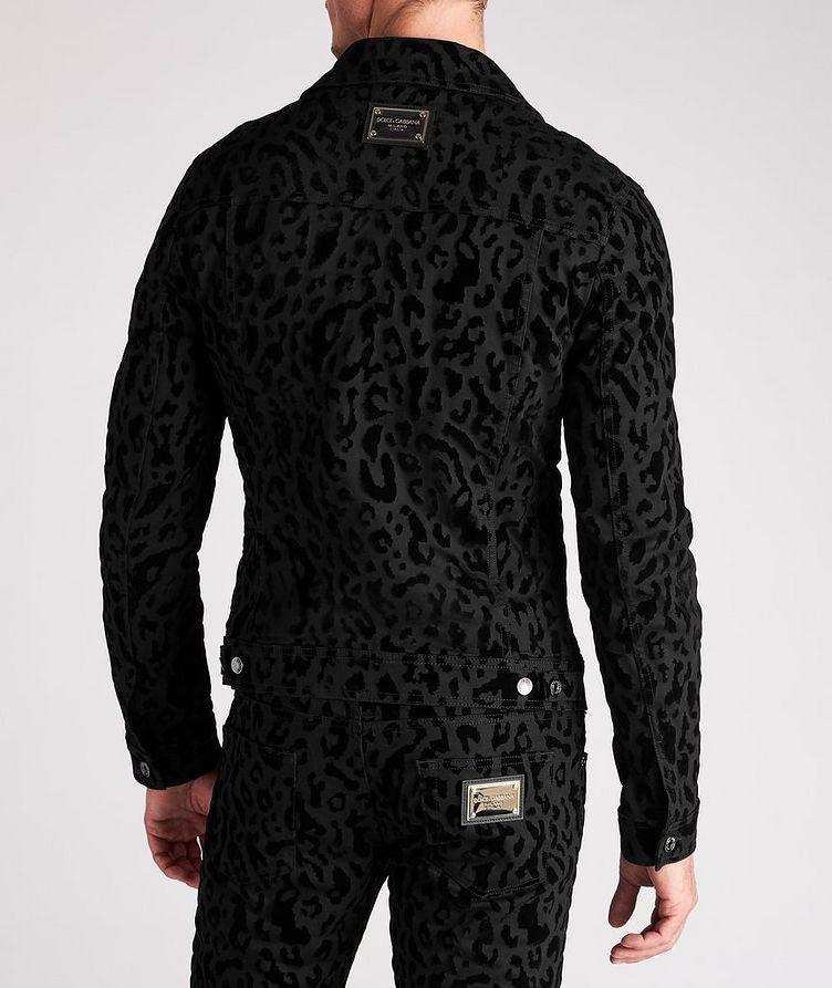 Leopard Print Stretch Denim Jacket image 2