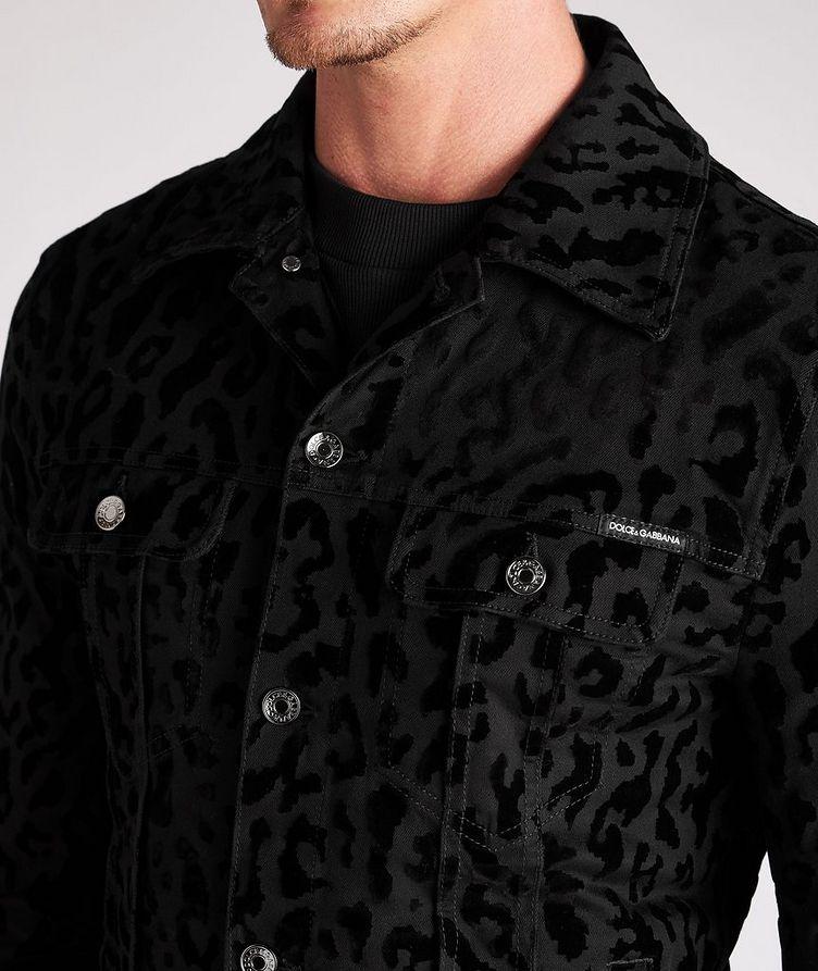 Leopard Print Stretch Denim Jacket image 3