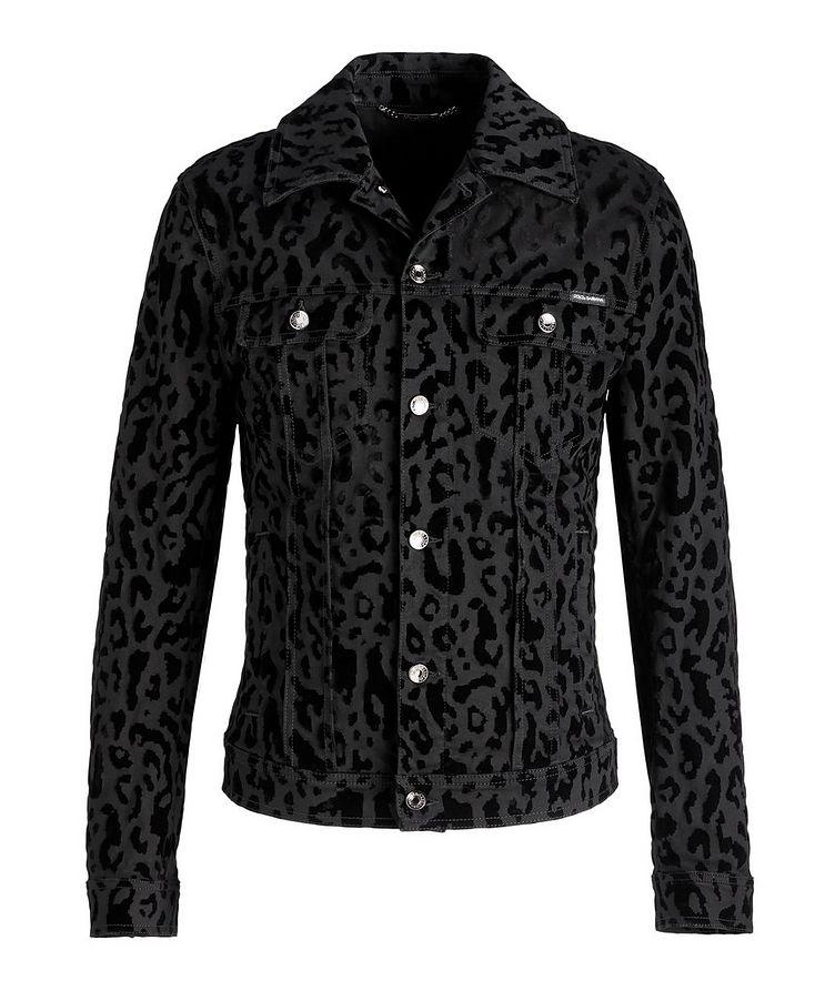 Leopard Print Stretch Denim Jacket image 0