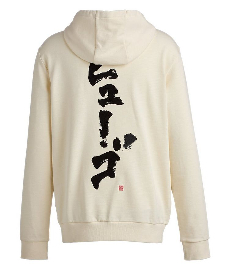 Calligraphy Printed Cotton Hoodie image 2
