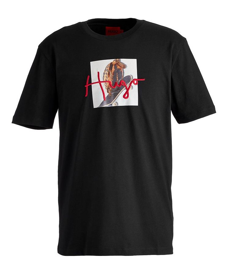 Dudgie Skateboarding Bird Cotton T-Shirt image 0