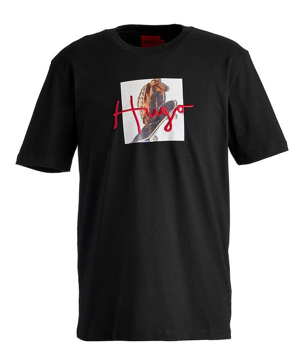 Dudgie Skateboarding Bird Cotton T-Shirt picture 1