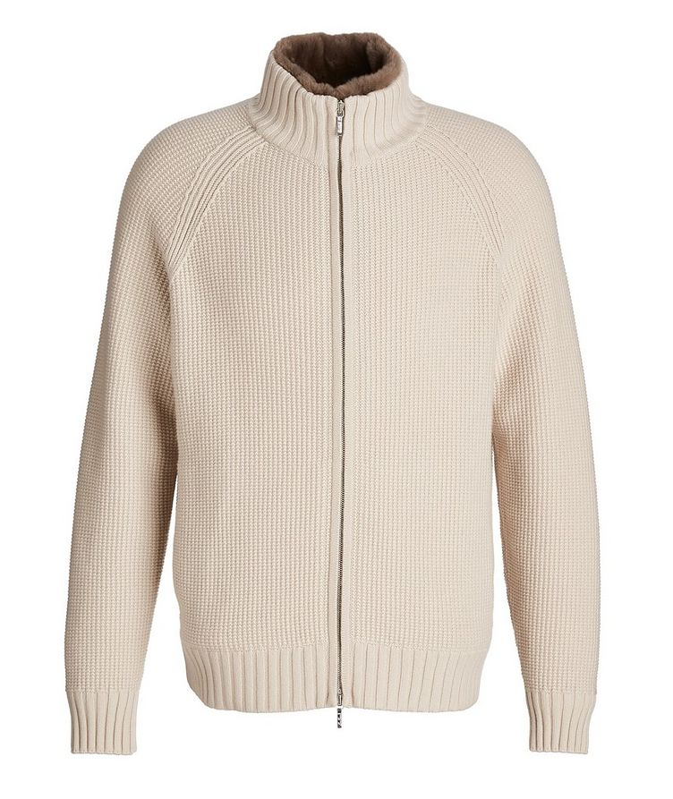 Castorino Fur-Lined Zip-Up Cashmere Sweater image 0