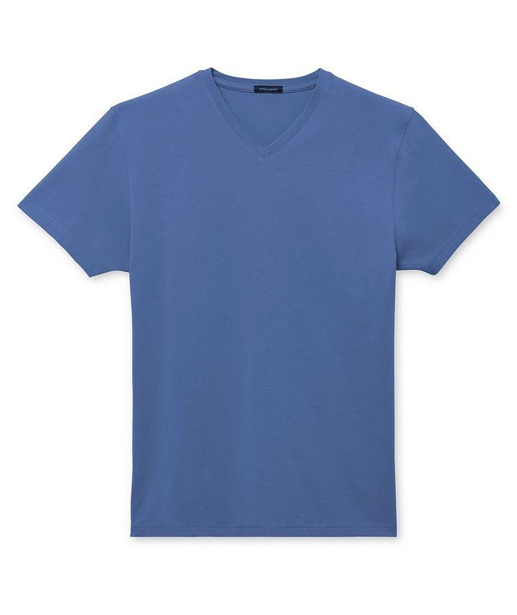 T-shirt en coton pima extensible à encolure en V image 0