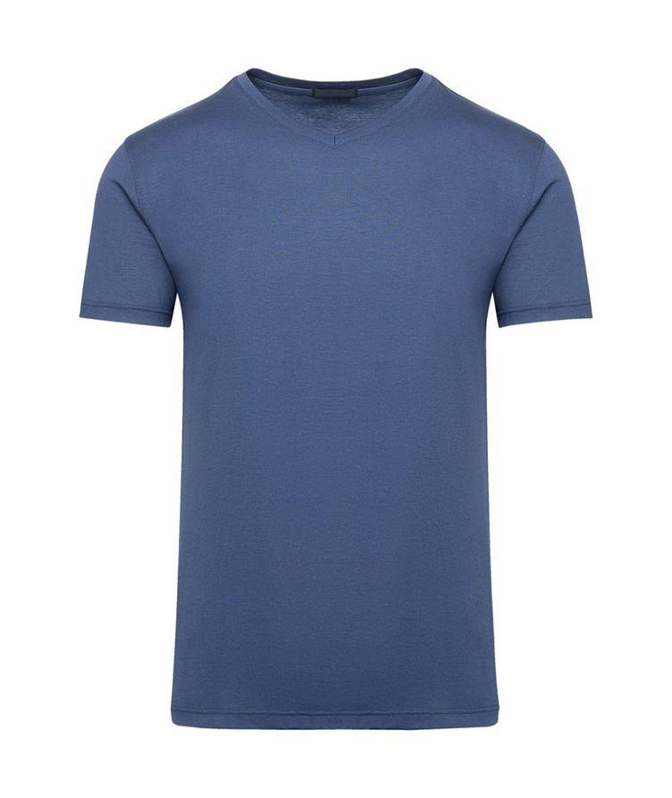 V-Neck Silk-Cotton T-Shirt image 0