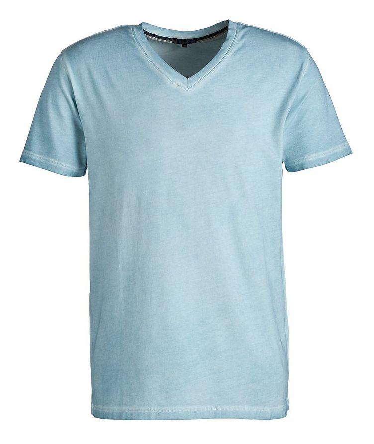 T-shirt en coton extensible à encolure en V image 0