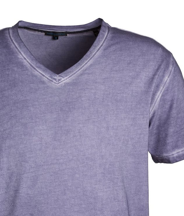 V-Neck Stretch-Cotton T-Shirt picture 2