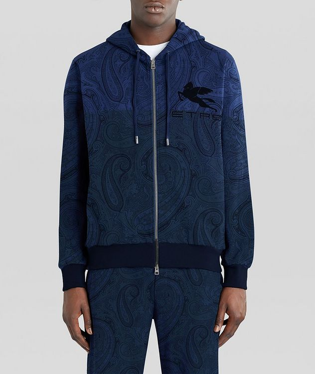 Paisley Print Zip-Up Cotton-Blend Hoodie  picture 3