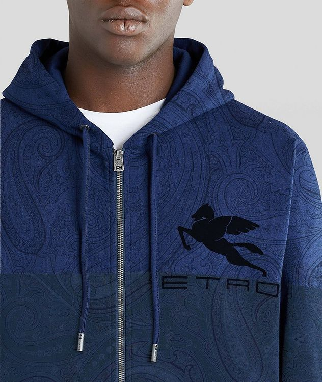 Paisley Print Zip-Up Cotton-Blend Hoodie  picture 5