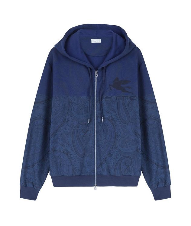 Paisley Print Zip-Up Cotton-Blend Hoodie  picture 1
