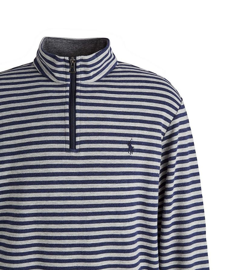 Striped Quarter-Zip Cotton-Blend Sweater image 1