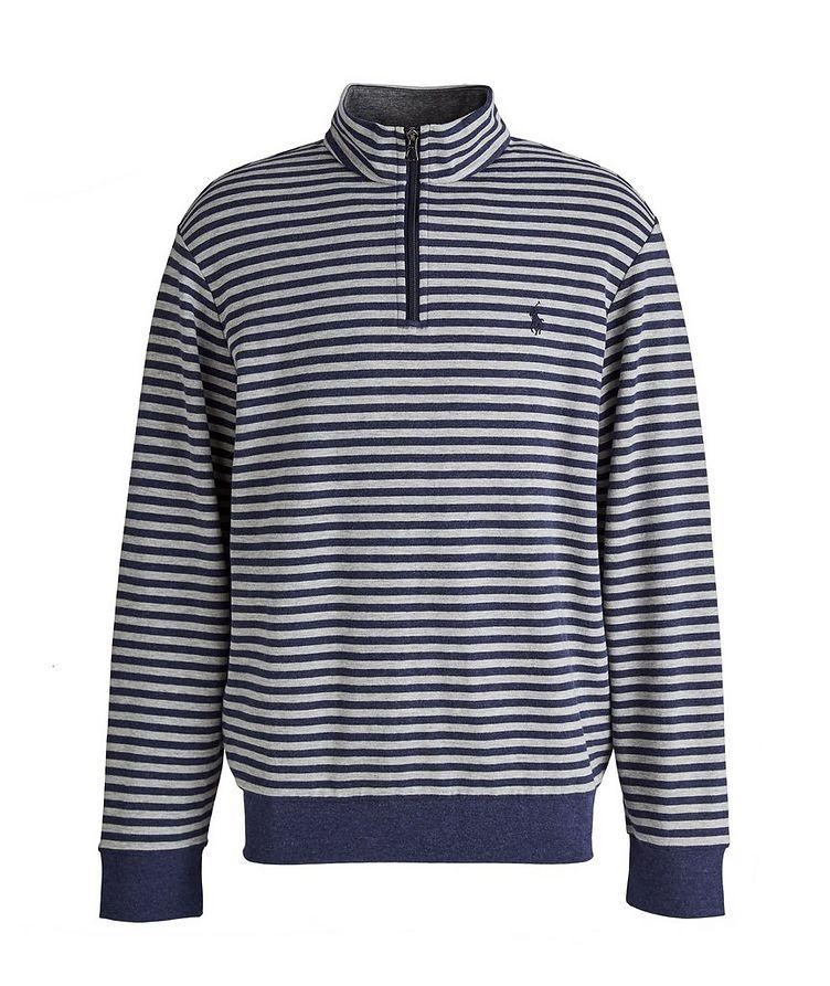 Striped Quarter-Zip Cotton-Blend Sweater image 0