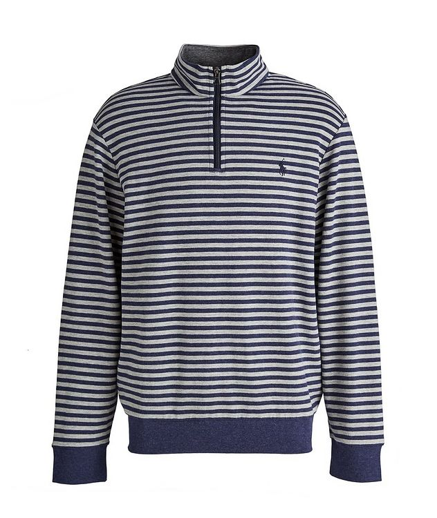 Striped Quarter-Zip Cotton-Blend Sweater picture 1