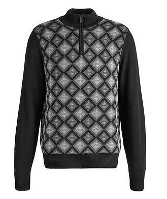 Canali Half-Zip Diamond Cotton-Blend Sweater