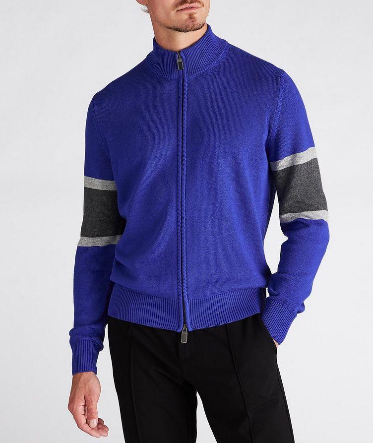 Zip-Up Cotton-Blend Cardigan image 1