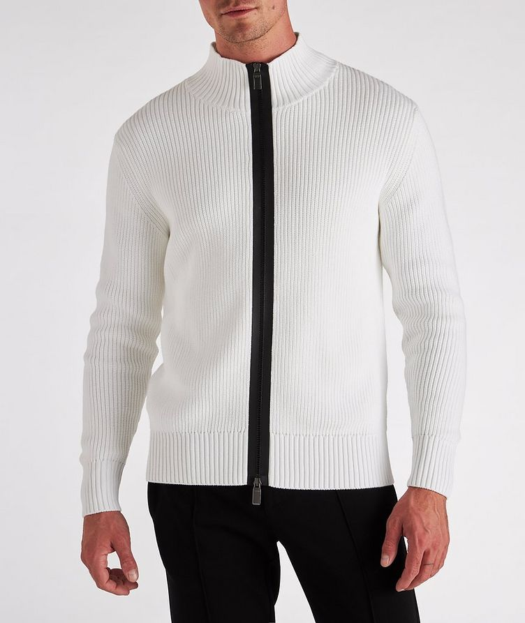 Zip-Up Cotton-Blend Sweater image 1