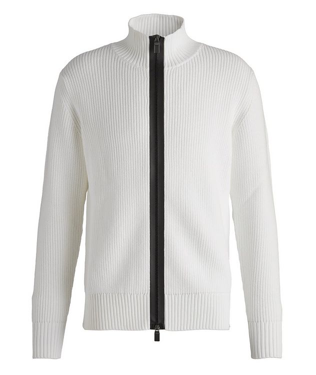 Zip-Up Cotton-Blend Sweater picture 1