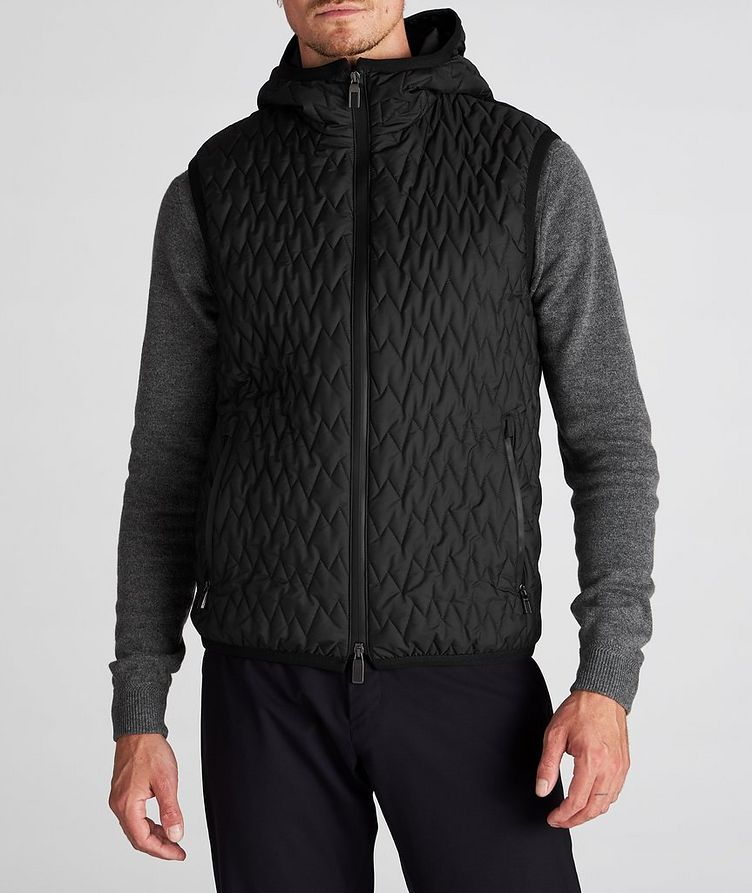 Water-Repellent Quilted Hooded Vest image 3